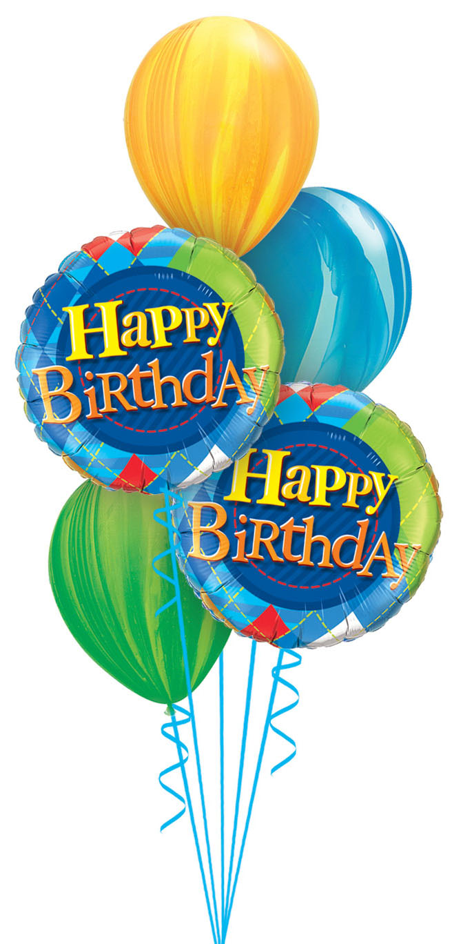 Perfect Birthday Greetings For A Male Includes 3 Fancy Coloured Swirl Decorator 11 Latex And 2