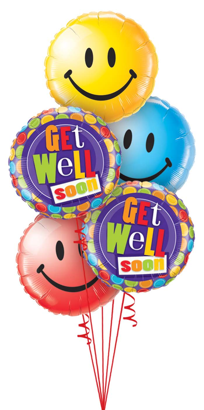 Get Well Smiles Balloon Bouquet smiley
